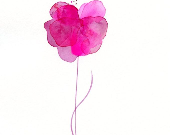 "Original watercolor flower painting: ""Magenta Flower"""