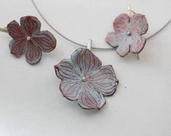 Enameled Hydrangea Blossom Pendant