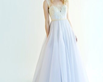 Sample Sale  Marion gown in light periwinkle blue with french lace