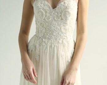 Sample Sale - ivory beaded Lace and ivory silk Wedding Dress sample