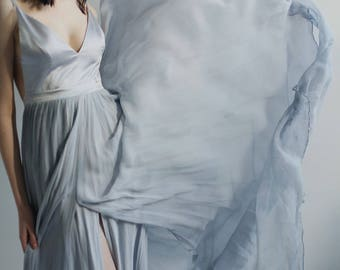 Sample Sale  muted blue and dove gray hand painted silk chiffon wedding dress