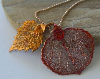 Autumn Red - Real Aspen and Birch Leaves Necklace