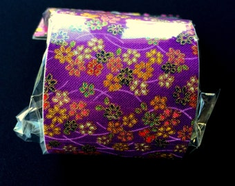Japanese Fabric Tape - Purple Tape - Flower Fabric Tape - Cherry Blossoms - Butterfly