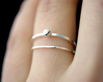In Orbit sterling silver ring, silver stackable ring, silver stacking ring, sterling silver bead ring, hammered silver rings, delicate ring