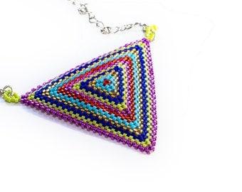 Triangle Necklace // Beaded // Metallic // Rainbow // Colorful // Seed Beads // Beadwork