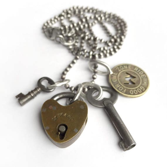 Antique Padlock Key Necklace