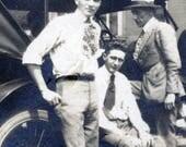 vintage photo Young Men Studio Painted Backdrop RPPC