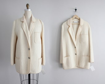 boiled wool coat | chunky coat | cream coat