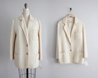 boiled wool coat   chunky coat   cream coat