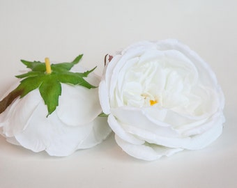 Fully Bloomed Stunning Cabbage Rose in White - Silk Artificial Flowers - ITEM 01063