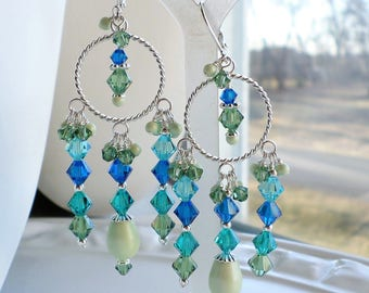 Blue Green Crystal Pearl Chandelier Earrings, Silver Chandelier Earrings, Blue Green Earrings, Summer Color Silver Earrings, Gift For Her