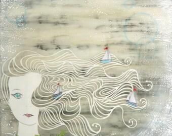 Print - Limited Edition - Wind Spirit - mixed media, encaustic