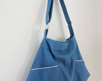 FIELDS OF JOY (tote, boho style, cotton print, light denim)