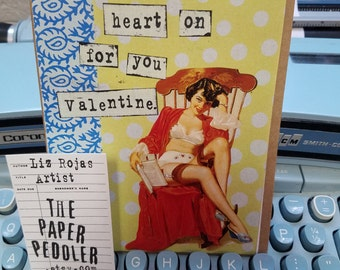 Vintage Valentine Pinup Card Handmade Retro Collage Greeting