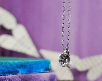 Tiny Star Necklace with Czech Glass Bead, Ready to Ship  {Hand Stamped PMC 960 + Sterling Silver}