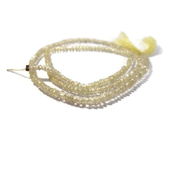Lemon Quartz Beads, Natural Gemstones, Faceted Rondelles, 13.5 Inch Strand of Stones for Making Jewelry, 2.5mm - 3.2mm (R-Lq2)