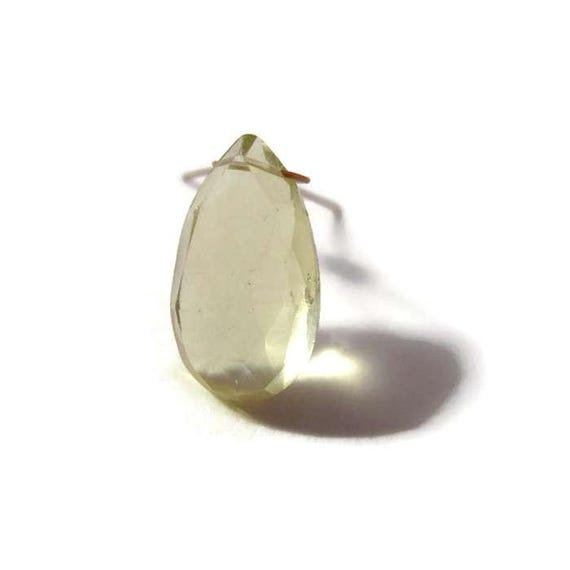 One Lemon Quartz Focal Bead, Large Yellow Gemstone Teardrop Bead for Jewelry, 15.5mm x 8.5mm Stone (L-Mix4b)