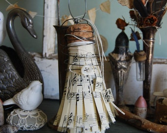 Vintage Music Book Page Assemblage Ornament for Mothers Day, Music Teacher Gift, Display, Holidays, and Vintage Farmhouse Style Home Decor