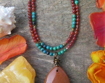 Double Strand Beaded Stone Necklace - Orange Turquoise Gold - Southwestern Look - Funky Bohemian Jewelry - Gypsy - OOAK - Drop Pendant