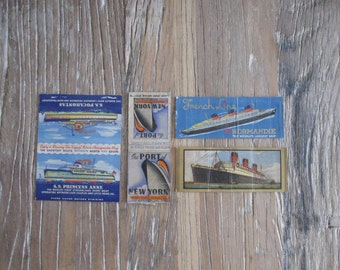 1930/40 Ship Matchbook Covers - the Normandie, RMS Queen Mary, SS Princess & SS Pocohontas, Port of New York Preparedness Dedication