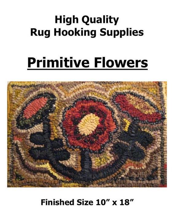 Rug Hooking Designs Primitive: Primitive Flowers 10 X 18 Rug Hooking Pattern By
