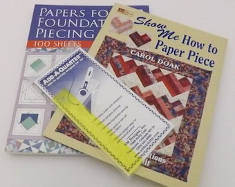 Paper Piecing Kit, Add a Quarter, Ruler, Quilting Paper, Show me, How to Paper Piece, Foundation Stars, Paper Piecing, Quilting Kit, Hearts,