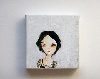 original painting, girl painting, original girl painting, girl art, woman painting, woman art, leaving now