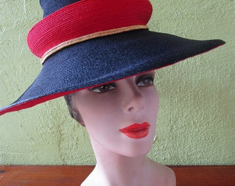 Reserve for Stephanie #2 Collectors John Frederics Sassy Double Crown Straw Har Navy Red Gold