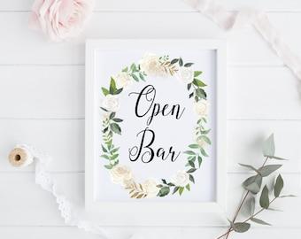 Open Bar Printable / Open Bar Wedding Printable / Open Bar Sign / Wedding Printable / Wedding Signage / Bar Sign