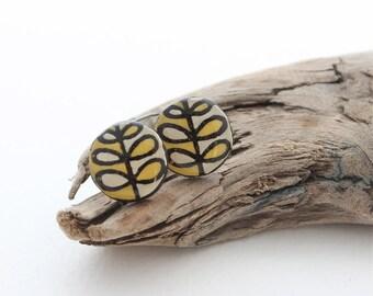 Small Wood Leaf Stud Earrings, Everyday Simple Earrings, Modern Geometric Earring, Wood Burned, Yellow Studs, Nickel Free For Sensitive Ears