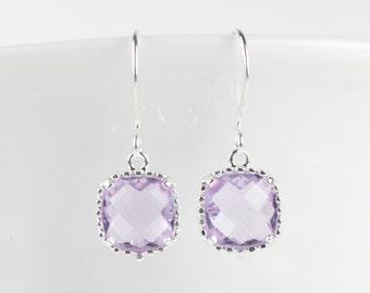 June Birthstone Earrings, Light Amethyst Silver Sqare Earrings, June Birthday Earrings, Birthstone Jewelry, Silver Earrings, Bridal Earrings