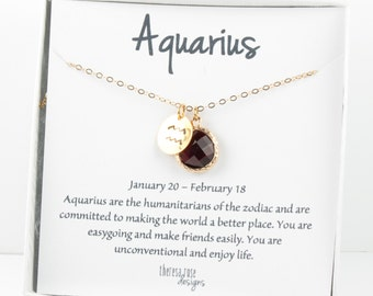 Aquarius Zodiac Gold Necklace, Aquarius January Necklace, January Birthday Jewelry, Zodiac Necklace, Astrology Gold Necklace
