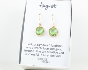 August Birthstone Peridot Gold Earrings, Birthstone Gold Square Earrings, Green Gold Earrings, Peridot Earrings, Bridesmaid Earrings