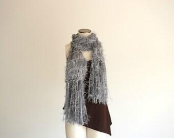 Long Grey Scarf Grey Knit Scarf Grey Winter Scarf with Fringe Soft Grey Scarf
