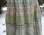 Floral sparkly hippie India print cotton skirt L XL bells summer cotton deadstock