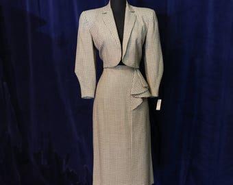 Vintage 1940s Designer Fred A. Block 2 Piece Suit - Size Small