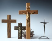 Collection of vintage wood cross religious wall decor wood and metal set of 4