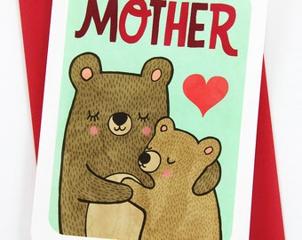 Mother Bear Card - Sweet Mothers Day Card Gifts for Mom Mothers Day Gift Mama Bear Card Happy Mother's Day Card for Mom Gift for Mom Card