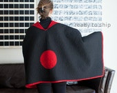 Quilted Shoulder Wrap Kimono Inspired Quilt Meditation Blanket Modern Quilt Wrap Reading Blanket Black and Red Quilt Japanese Red Sun Quilt