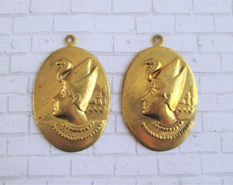 Pair of Vintage Egyptian Brass Stamping Pendants