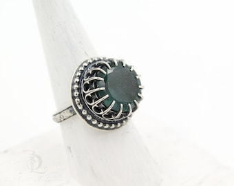 Size 7.5, Sea Witch //  Natural Moss Aquamarine Gemstone and Sterling Silver statement ring, by BellaLili, Welded Silversmith