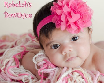 Hot Pink shabby flower headband, baby headband, infant headband, dark pink flower, chiffon flowers, baby chiffon headband, Newborn headband