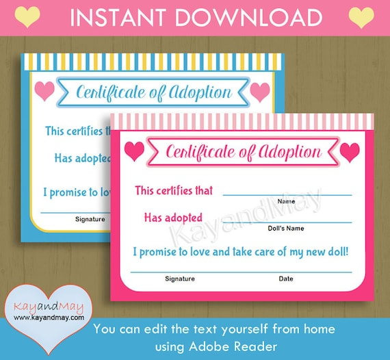Adoption certificate for baby doll stuffed animal pet and more adoption certificate for baby doll stuffed animal pet and more instant download printable you can edit text from home with adobe reader yadclub Gallery