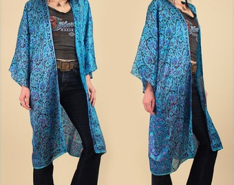 ViNtAgE INDIAN SILK KIMONO Duster Deadstock New Old Stock ZoDiAc Sheer Gypsy Floral India BoHo HiPPiE Festival top dress Free Size