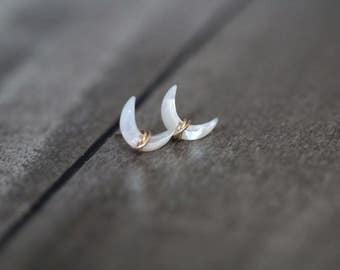 Crescent Moon Stud Earrings ,  Mother of Pearl Gemstone Post in Gold , Rose Gold , Sterling Silver , Wire Wrapped Ear Climber -  Moonbeam