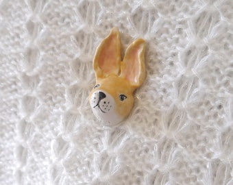 Ceramic Shawl Pin, Hand Sculpted Rabbit Head with Antique Brass Stick Pin