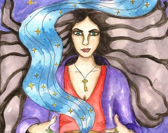 Pagan Art Medea Priestess of Hekate Original Painting Greek Mythology Goddess Fantasy Art Occult Witch Divine Feminine Sacred Spiritual Art