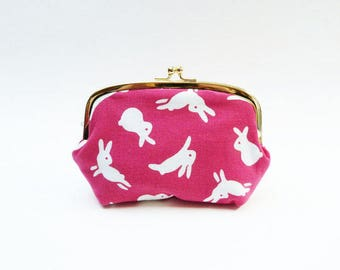 Cosmetic bag, pink and white bunny rabbit fabric, cotton purse