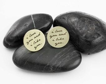 I Love You And I Like You. Parks and Recreation. Leslie Knope. Ben Wyatt. Gifts for Him. Groom Gifts. Cufflinks. Valentines Day.
