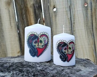 In Love Day of the Dead Sugar Skull Couple Pillar Candle Set